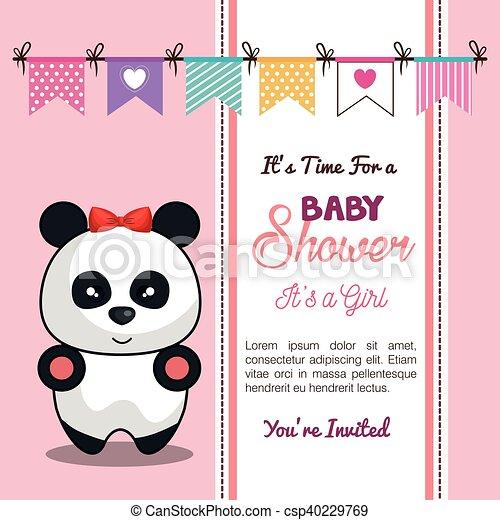 Invitation baby shower card with panda girl desing vector invitation baby shower card with panda girl desing csp40229769 filmwisefo
