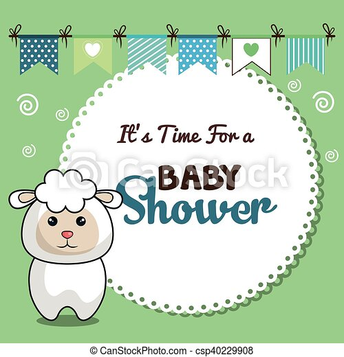 Invitation baby shower card with sheep desing vector illustration invitation baby shower card with sheep desing csp40229908 stopboris Image collections