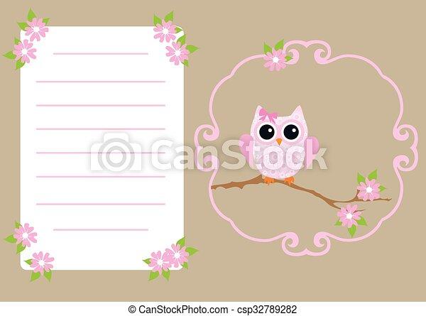 Vector invitation card with owl invitation card csp32789282 stopboris Choice Image