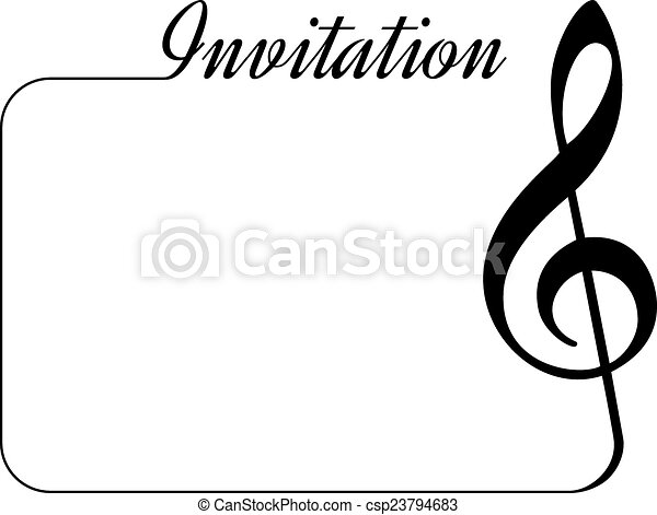 invitation card for music performance or concert isolated template with treble clef border and. Black Bedroom Furniture Sets. Home Design Ideas
