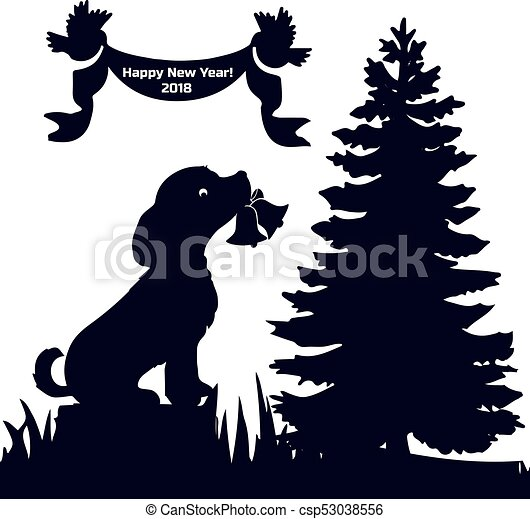 invitation card new years eve 2018 dog in the forest sits on a