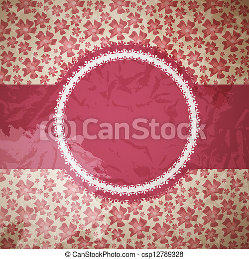 INVITATION CARD ON FLORAL BACKGROUND - csp12789328