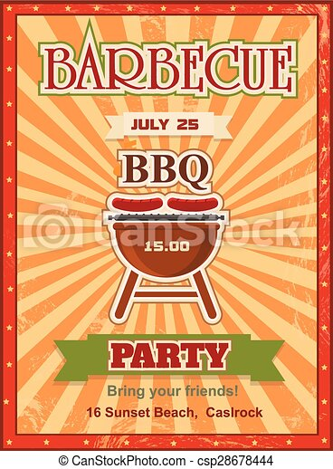 Invitation card on the barbecue design template Cookout poster  with charcoal grill sausages on forks and sample text. - csp28678444