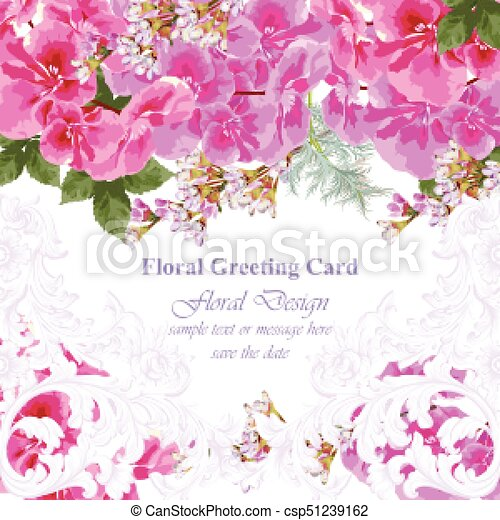 Invitation Card Vector Roses Beauty Flowers Fuchsia Pink Colors