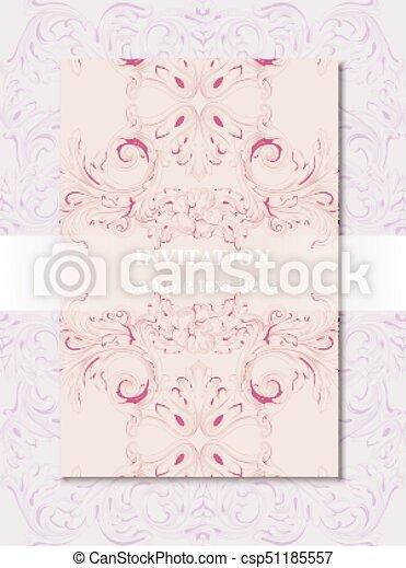 Invitation card vector royal victorian pattern ornament rich invitation card vector royal victorian pattern ornament rich rococo backgrounds primrose pink and stopboris Gallery