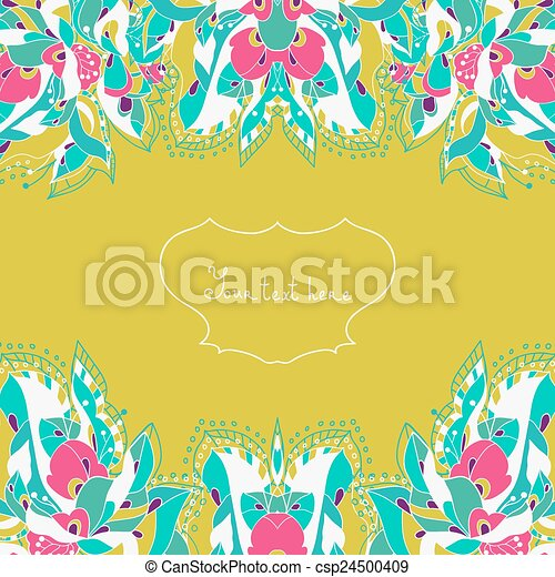 Invitation Card With Abstract Flowe