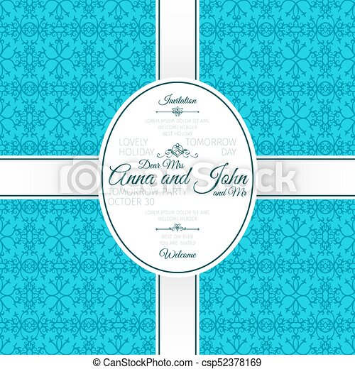 Invitation Card With Blue Arabic Pattern