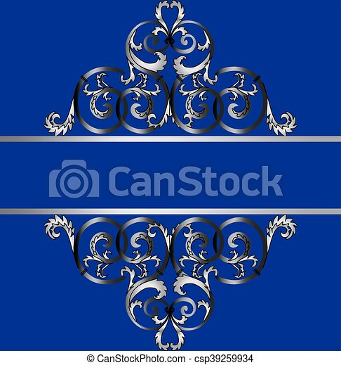 Invitation card with classic silver royal ornament royal blue color invitation card with classic silver royal ornament csp39259934 stopboris Choice Image