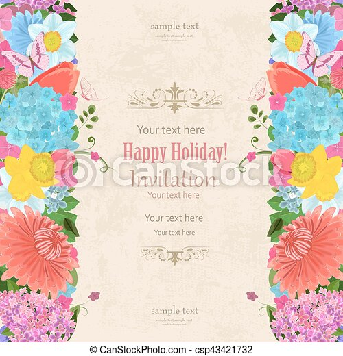 Invitation Card With Elegant Vertical Borders From Spring Flowers