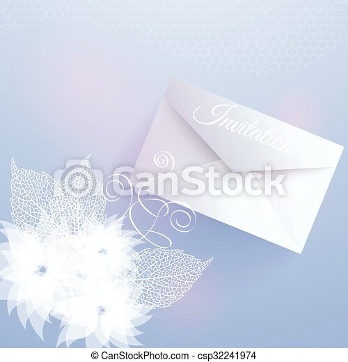 Wedding invitation card with floral elements and envelope vectors invitation card with floral elements csp32241974 stopboris Image collections