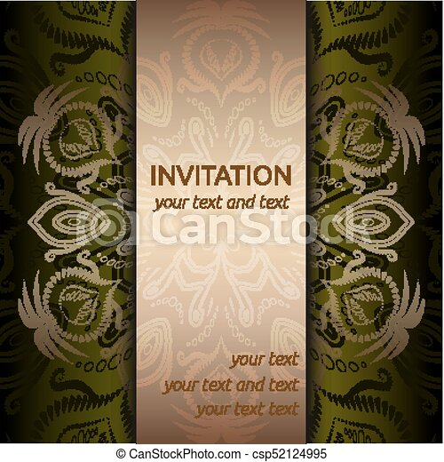 Invitation card with golden pattern and ribbon vector invitation invitation card with golden pattern and ribbon csp52124995 stopboris Image collections