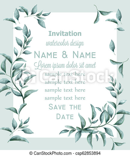Invitation Card With Green Branches Watercolor Vector Beautiful Vintage Pastel Colors Floral Decor Frames