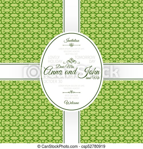 Invitation card with green geometric pattern invitation vector invitation card with green geometric pattern csp52780919 stopboris Image collections