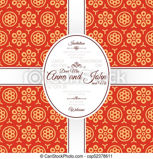 Invitation card with red chinese pattern. Invitation template card ...