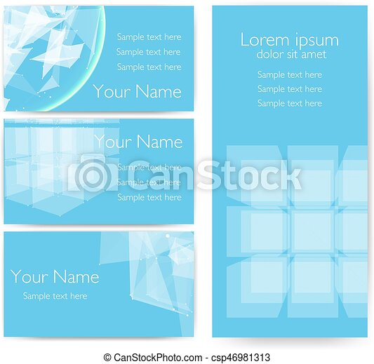 Invitation Cards With Abstract Mesh Objects Futuristic Technology Style Design Business Cards Eps10