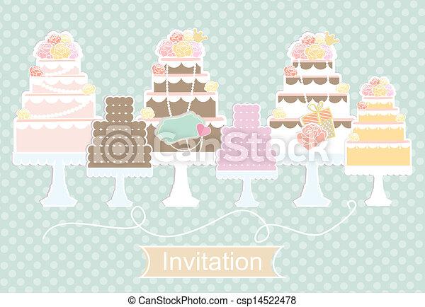 Invitation design with decorative cakes - csp14522478
