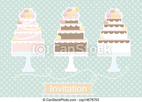 Invitation design with decorative cakes - csp14678703