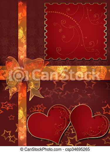 Invitation letter with hearts with bow on red background stock invitation letter with hearts with bow on red stock illustration stopboris Image collections