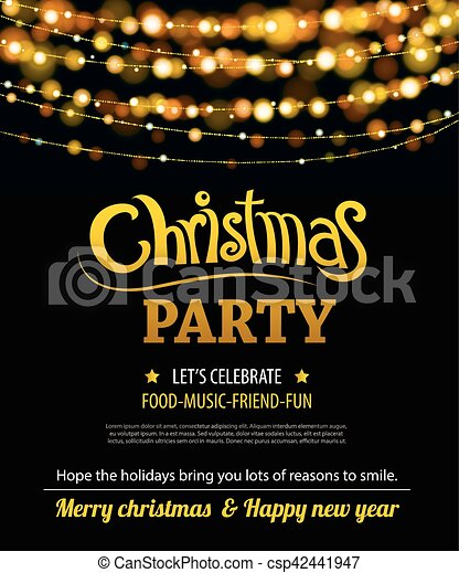 Invitation Merry Christmas Party Poster Banner And Card Design Template Happy Holiday And New Year Light Theme Concept