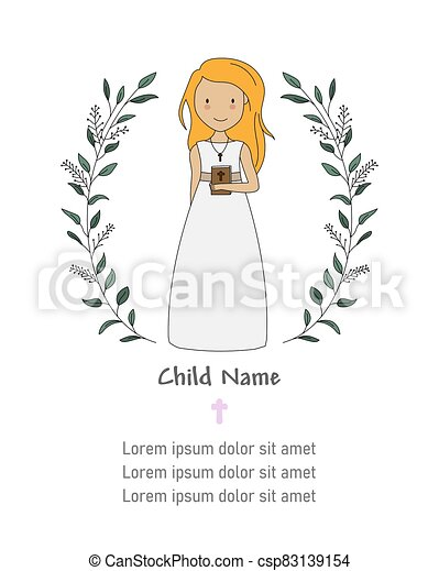 Invitation my first communion. Little girl with a bible. - csp83139154