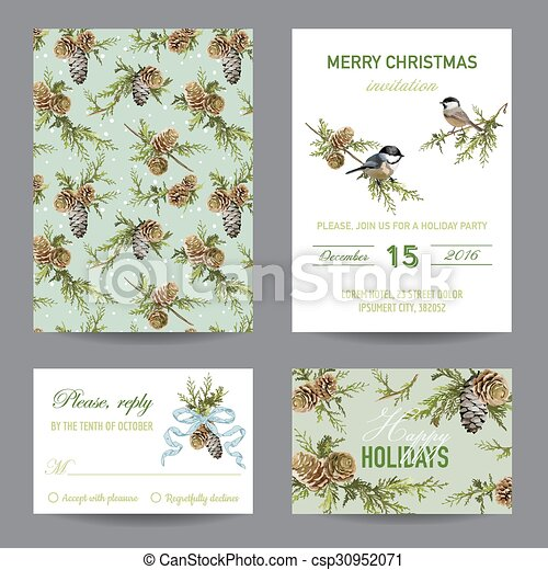 Invitation or Greeting Christmas Card Set - in vector - csp30952071