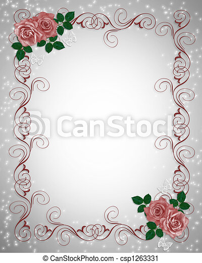 Invitation red roses border red roses illustration clipart invitation red roses border csp1263331 stopboris Image collections