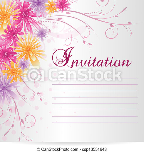 Invitation Template Blank With Multicolored Abstract Flowers