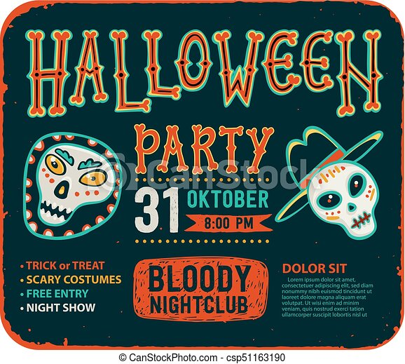 Invitation To Halloween Night Party Vintage Card With Skulls Vector Template Halloween Party Invitation Card Flyer With Text Halloween Party On A
