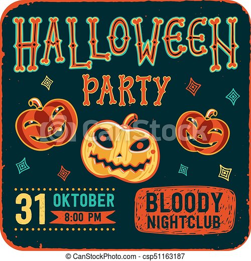 Invitation to halloween night party vintage card with pumpkins on invitation to halloween night party vintage card with pumpkins on dark background vector template stopboris Choice Image