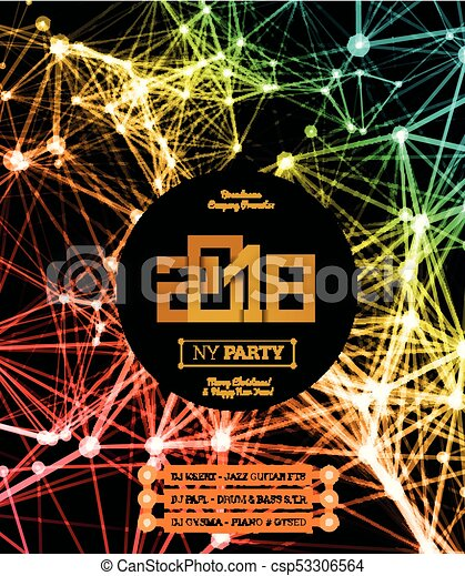 invitation to the new year party of 2018 csp53306564