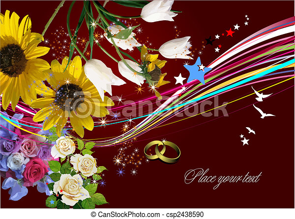 invitation, vecteur, mariage, carte, salutation, card., illustration. - csp2438590