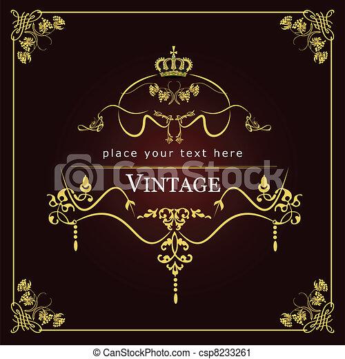 Invitation vintage card. Wedding o - csp8233261