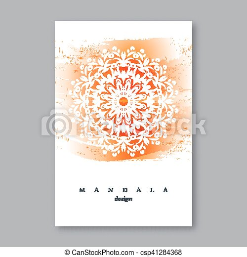 Invitation Wedding Card Template With Hand Drawn Mandala Watercolor Background Vintage Decorative Element In Oriental Style Indian Asian Arabic