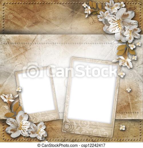 invitations, fleurs, félicitations, fond, cadre, vendange - csp12242417