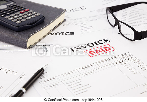 invoice and bills with paid stamp - csp19441095