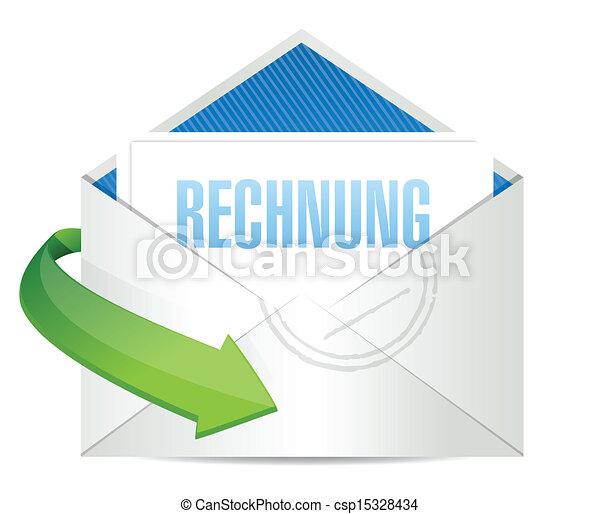 invoice envelope written in german. illustration - csp15328434