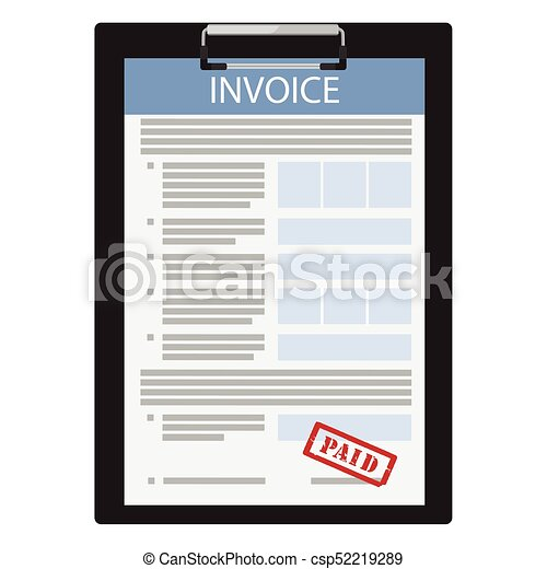invoice paid vector vector illustration invoice with red stamp paid