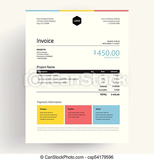 invoice template design in minimal style creative colorful