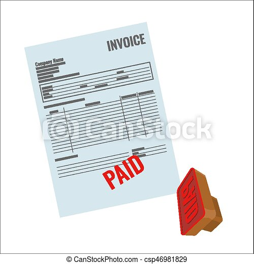 Invoice Vector Bill With Red Paid Stamp Closeup Realistic - Invoice stamp