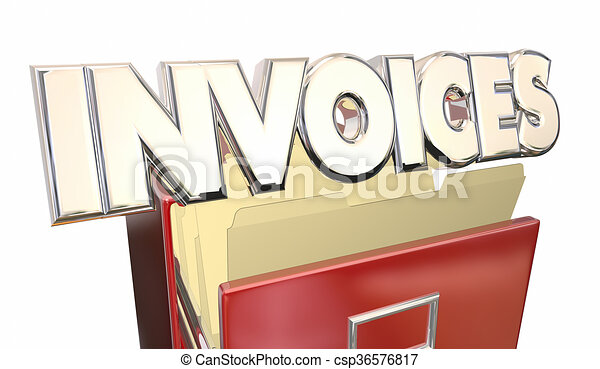 Invoices 3d Word File Cabinet Money Owed Payment Due