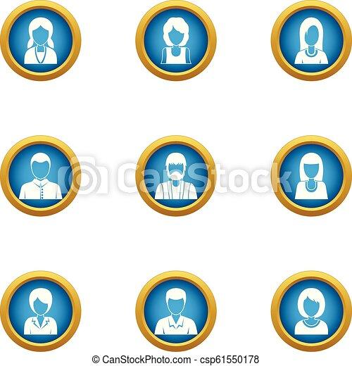 inwoner, set, stijl, iconen, plat - csp61550178