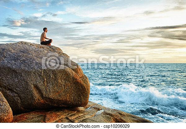 ioga, -, costa, práticas, meditação, homem - csp10206029