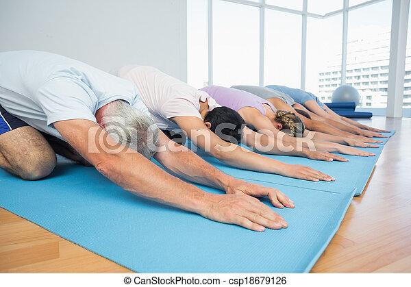 ioga, fila, grupo, classe aptidão - csp18679126