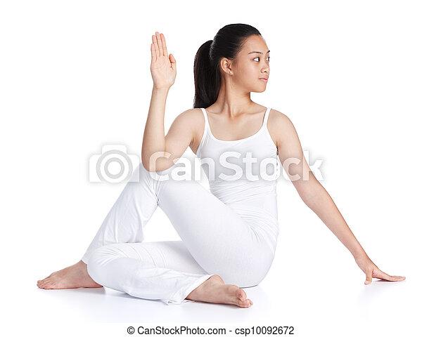 ioga fundo exercitar contra fêmea asiática branca