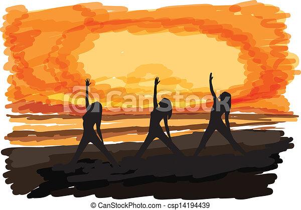 ioga ilustração ioga três ilustração mulheres