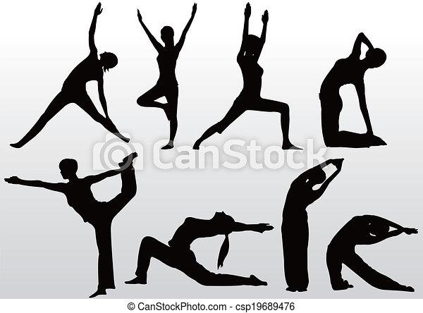 ioga posa, silueta, mulheres - csp19689476
