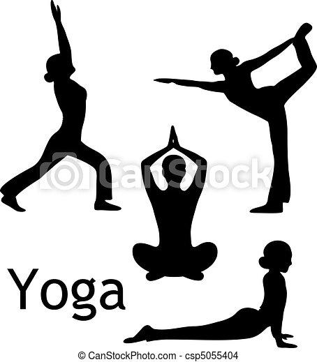 ioga, poses, vetorial, silueta - csp5055404
