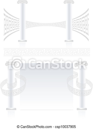 Ionic Column with Greek key pattern - csp10037905