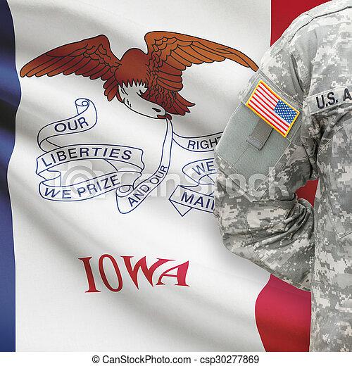 iowa, -, állam, bennünket, katona, lobogó, háttér, amerikai - csp30277869