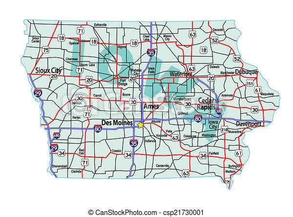 Iowa Interstate Highway Map - csp21730001